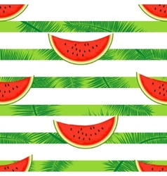 Slices of watermelon on a striped background vector