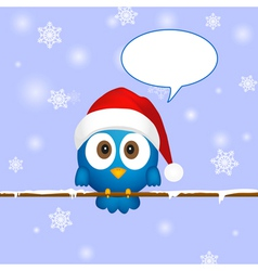 Cute blue christmas bird vector