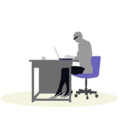 A business woman sitting at a desk vector