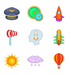 Aeronaut icons set cartoon style vector