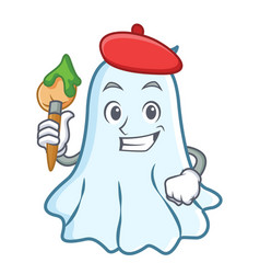 artist cute ghost character cartoon vector image vector image