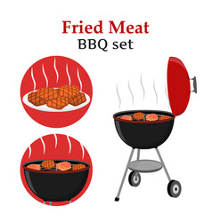 Barbecue set - grill station fried fresh meat vector