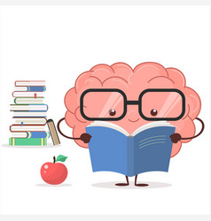 brain with glasses and book vector image vector image