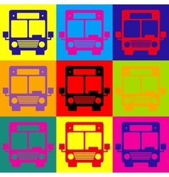 Bus sign pop-art style icons set vector