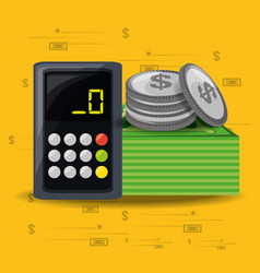 Calculator bills and coins over yellow background vector