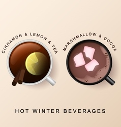 Cinnamon lemon black tea marshmallow cocoa vector