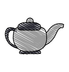 Color crayon stripe gray tea kettle for hot drinks vector