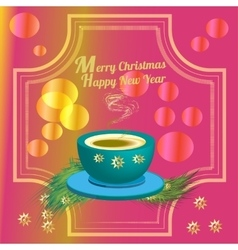 Cup of coffee and christmas decoration vector