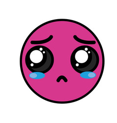 Cute kawaii cry face and sad vector