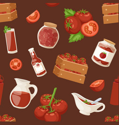 Fresh background organic red tomato products vector