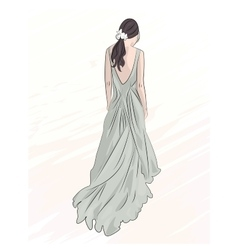 Girl in evening long dress vector