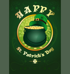 happy st patricks day green pot with gold coins vector image