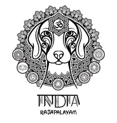 Image of an indian dog in indian ornament vector