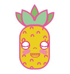 Kawaii cute happy pineapple fruit vector