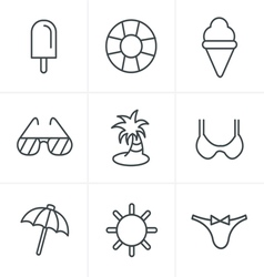 Line Icons Style Summer Icons Set Design vector image
