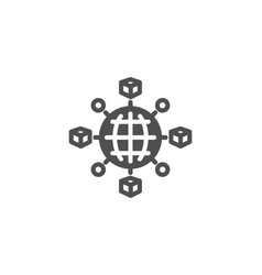 Logistics network simple icon parcel tracking vector