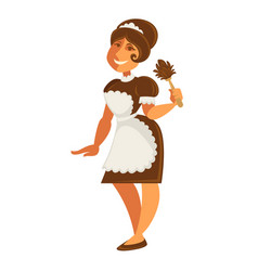 maid or housekeeper woman in apron and duster vector image