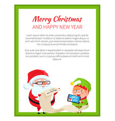 merry christmas and happy new year poster santa vector image vector image