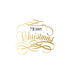 merry christmas hand lettering in gold merry vector image