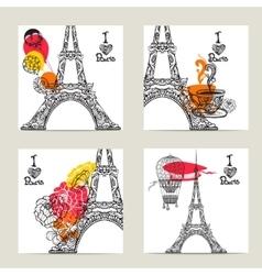 Paris Card Set vector image