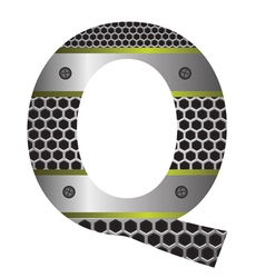 perforated metal letter Q vector image