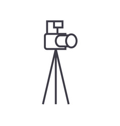 photo camera with tripod line icon sign vector image