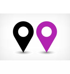 Purple map pins sign icon in flat style vector