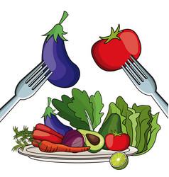 Salad vegetables eating food fork plate vector