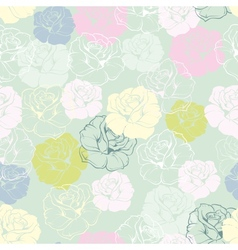 Seamless floral pattern with tile decoration roses vector