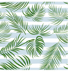 Seamless hand drawn tropical pattern with palm vector