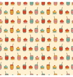 Seamless pattern with cupcake coffee or tea icons vector