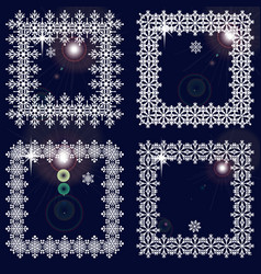 Set of winter frames from snowflakes white cadres vector