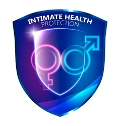 Sexual health protection shield symbol vector