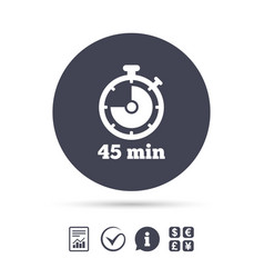 timer sign icon 45 minutes stopwatch symbol vector image vector image