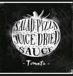 Tomato cutting scheme chalk vector