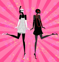 two girls dancing vector image vector image