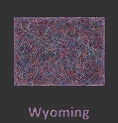 Wyoming line art map vector