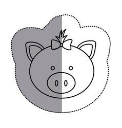 contour face pig ribbon bow head icon vector image