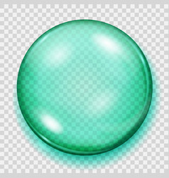Transparent turquoise sphere with shadow vector