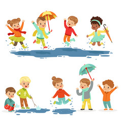 Cute smiling little kids playing on puddles set vector