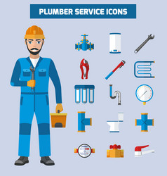 Plumber service icon set vector