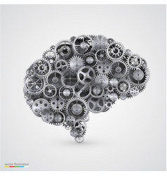 Cogs in the shape of a human brain vector