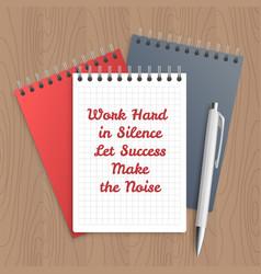 Text work hard in silence vector