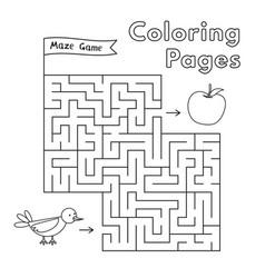 Cartoon bird maze game vector
