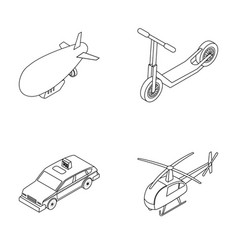 A dirigible a children s scooter a taxi a vector