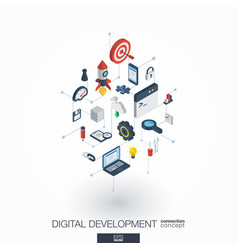 Development integrated 3d web icons digital vector