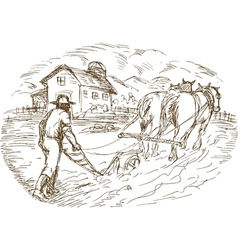 Farmer and horse plowing the field with barn vector