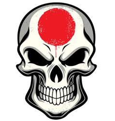 Japan flag painted on skull vector