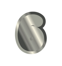 number 6 steel metal font six silver alphabet vector image