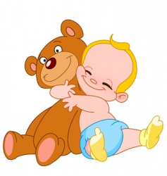 baby hug bear vector image
